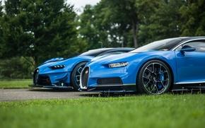 Обои трава, газон, Bugatti, Vision, гиперкары, Gran Turismo, Chiron