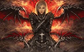 Картинка девушка, крылья, крест, броня, сложенные руки