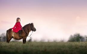 Картинка девочка, пони, Watchful