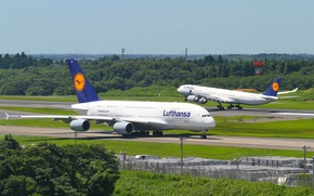 Обои Lufthansa, Flight, Airbus, Руление, A380, Taxiing, 800, Airport, Посадка, Аэропорт, Полёт, Люфтганза, Germany, Германия, A340, ...