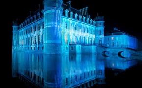 Обои вода, отражение, замок, подсветка