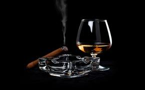 Обои сигара, выпивка, спиртное
