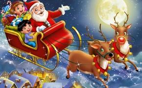 Обои ночь, дети, город, праздник, луна, игрушки, арт, подарки, санта клаус, сани, олени