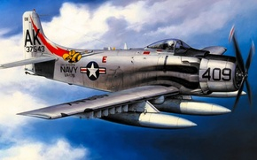 Картинка bomber, war, art, airplane, painting, aviation, attacker, Douglas A-1 Skyraider