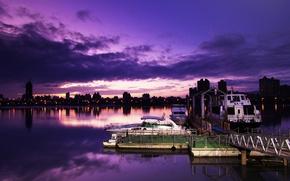 Картинка ночь, город, порт