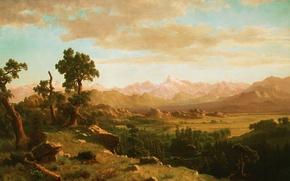 Обои камни, картина, горы, Альберт Бирштадт, Wind River Country, долина, пейзаж