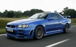 Обои легендарный автомобиль, v-spec, гтр, дорога, ниссан, nissan, скайлайн, skyline, r34, синий, gt-r, спорткар