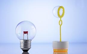 Обои лампочка, мыльный пузырь, цоколь