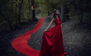 Картинка лес, девушка, птица, красное платье, Jesse Herzog, Ailish