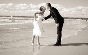 Картинка море, девушка, поцелуй, парень