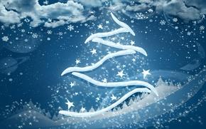 Картинка синий, елка, новый год