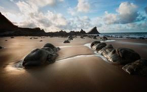 Картинка море, небо, камни, скалы, берег, отлив
