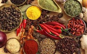 Обои перец, чёрный перец, имбирь, грецкие орехи, бадьян, специи, чеснок, красный перец, приправы, лавровый лист, лук