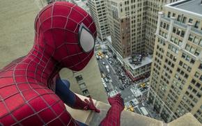 Картинка The Amazing Spider-Man, Andrew Garfield, Новый Человек-паук, Эндрю Гарфилд, комикс, крыша, город, улица, фантастика