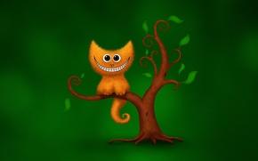 Картинка кот, зеленый, улыбка, дерево, юмор, чеширский кот