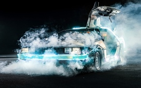 Картинка фон, дым, дверь, Назад в будущее, ДеЛориан, DeLorean, DMC-12, передок, Back to the Future, Машина …