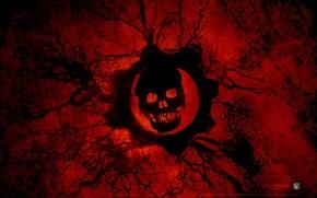 Картинка кровь, череп, Gears of War 3