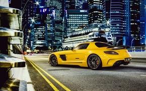 Картинка Mercedes-Benz, Дорога, Желтый, Мерседес, AMG, Black, SLS, Суперкар, Series, Yellow, Бенц