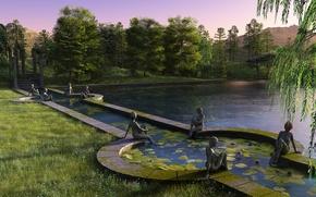 Картинка деревья, закат, озеро, пруд, парк, статуя, рендер