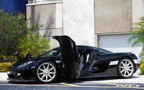 Картинка Koenigsegg, Black, CCXR, Building, Supercar, Palm