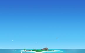 Картинка минимализм, вектор, синий, остров
