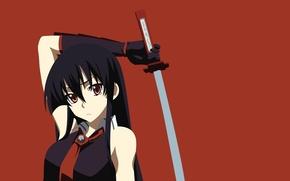 Картинка vector, sword, game, soldier, long hair, Square Enix, anime, red eyes, katana, pretty, ken, brunette, …