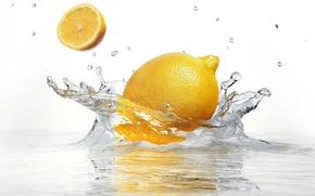 Картинка вода, брызги, лимон, белый фон, lemon, water, white background, sprays