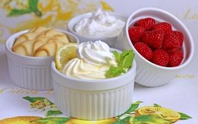 Картинка широкоэкранные, десерт, сладкое, печенье, HD wallpapers, обои, малина, крем, полноэкранные, background, fullscreen, ягода, лимон, широкоформатные, ...