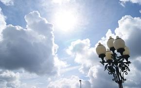 Картинка солнце, Небо, фонарь, г.Владимир