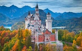 Картинка осень, горы, Замок Нойшванштайн, юго-западная Бавария, юг Германии