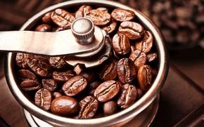 Картинка кофе, зёрна, Coffee, кофейные, кофемолка, coffee beans, бобы