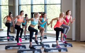 Картинка fitness, class, located step, aerobics, group