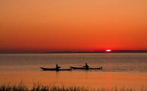 Обои озеро, Закат, лодки