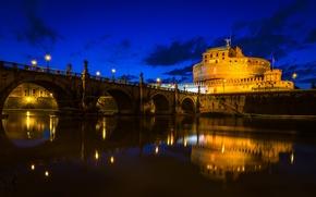Обои мост, Италия, замок Святого Ангела, Рим, Тибр, небо, река, облака