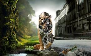 Картинка природа, город, тигр, механизм, киборг, ананасы