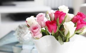 Картинка белый, цветы, розовый, розы, букет, ваза, малиновый