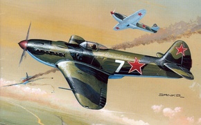 Картинка war, art, painting, aviation, Yakovlev Yak-3, ww2, russian fighter