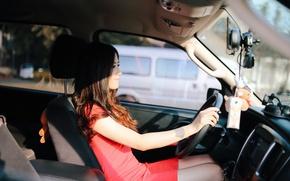Картинка машина, девушка, автомобиль, салон, за рулем