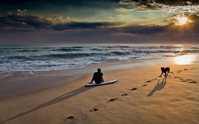 Картинка море, пляж, небо, закат