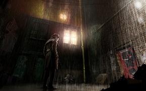 Картинка город, дождь, улица, хранители, rorschach, Comics, роршах, watchmen