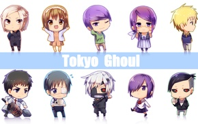 Картинка арт, чиби, art, Tokyo Ghoul, Kaneki Ken, Токийский Гуль, Kirishima Touka, Kamishiro Rize, Uta, Fueguchi …