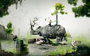 Картинка животные, девушка, дерево