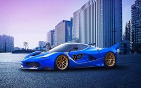 Обои ferrari, fxx k, race, supercar, blue, city, sunset, purple, pink