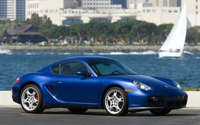 Обои Синий, Porsche, Cayman