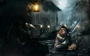 Картинка кот, облака, ночь, луна, улица, монстр, меч, герой, фонарь, rpg, bloodborne