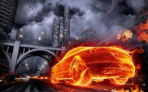 Картинка авто, город, огонь, графика