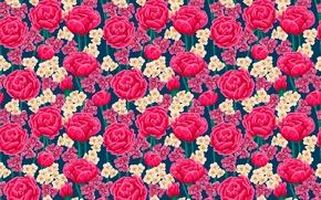 Картинка цветы, узор, розы