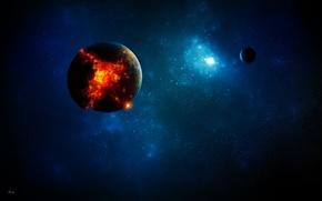 Картинка космос, свет, апокалипсис, планеты, Земля, разрушение
