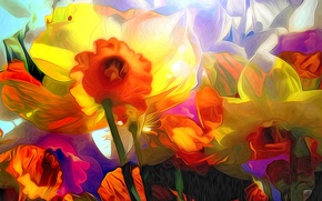 Обои цветы, лепестки, нарцис, рендеринг