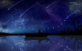 Картинка небо, вода, девушка, звезды, ночь, лодка, крылья, аниме, арт, кристаллы, touhou, flandre scarlet